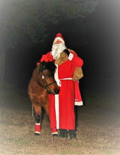 Ein Weihnachtsmann mit Pony vor einem Wald